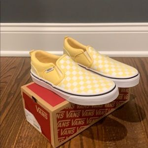 Vans Kid's Yellow/White Checkerboard Slip-on Shoes